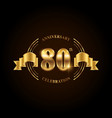 80 years anniversary celebration logotype golden vector image
