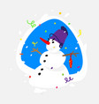 a snowman the sticker image is isolated from the vector image vector image