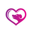 abstract pet shop love logo vector image vector image
