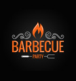 barbecue party vintage logo on black background vector image vector image