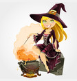 beautiful witch sit on grave with boiler vector image vector image