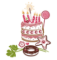 Birthday cake pie vector image vector image