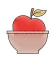 bowl with apple close up in colored crayon vector image
