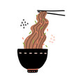 buckwheat noodles in black bowl and chopsticks vector image vector image