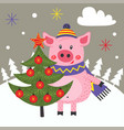 card happy new year with pig and christmas tree vector image vector image
