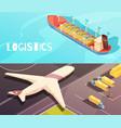 cargo vessel banners set vector image vector image