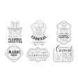 carnival mardi gras hand drawn retro labels set vector image vector image