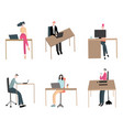 cartoon characters working people different types vector image vector image