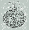 Christmas card with silhouette of decoration ball vector image vector image