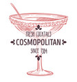 cosmopolitan fresh cocktail alcoholic beverage in vector image vector image