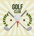 crossed sticks golf club ball on tee emblem vector image vector image
