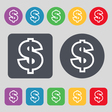 Dollar icon sign A set of 12 colored buttons Flat vector image vector image