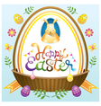 Easter Heading Label with Basket Eggs and Icons vector image vector image
