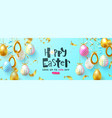 easter sale background with decorated eggs and vector image vector image