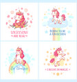 fairy unicorn poster sweet rainbow magic unicorns vector image