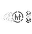 family diagram fragmented pixel halftone icon vector image vector image