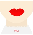 Fashion woman face with big thick red lips neck vector image vector image