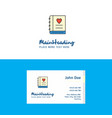 flat love diary logo and visiting card template vector image