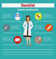 future profession dentist infographic vector image vector image