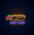 glowing neon fast food sign with hurrying hot dog vector image vector image