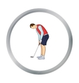 Golfer before kick icon in cartoon style isolated vector image vector image