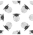 graduation cap on globe icon seamless pattern vector image vector image