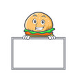 grinning burger character fast food with board vector image vector image