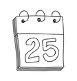 hand drawing of calendar day twenty five vector image