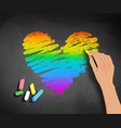 hand drawing rainbow colored heart vector image vector image