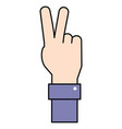 hand peace sign vector image