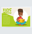 happy african american teen boy sitting and vector image