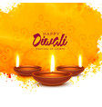 happy diwali background with orange watercolor vector image vector image