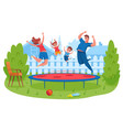 happy family jumping on trampoline mother and vector image vector image