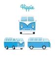 Hippie vintage blue mini van vector image vector image