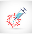 icon syringe with vaccine and covid-19 virus vector image
