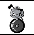 image of silver viking with shield and ax vector image