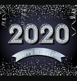 lighted 2020 happy new year design in silver vector image vector image