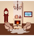 Living Room Interior with Vintage Chandelier vector image