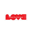 love word red hearts letters happy valentines vector image