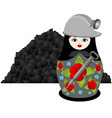 nesting doll coal miner vector image vector image
