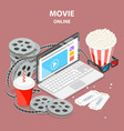 online movie flat isometric concept vector image vector image