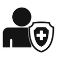 Person and medical cross protection shield icon vector image vector image