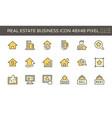 real estate business icon set design 48x48 pixel vector image vector image