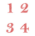 Red sketch font set - numbers 1 2 3 4 vector image vector image