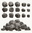 rock stone cartoon in flat style set different vector image vector image
