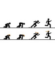 runners at starting blocks in different phases vector image