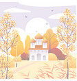 rural scene with church and autumn trees vector image