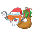 santa with gift transparent teapot character vector image