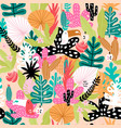 seamless jungle pattern with toucans colorful vector image