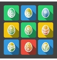 Set of Flat Easter Eggs Icons vector image